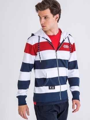 TRIKOLOR ZIPPED HOODIE MEN